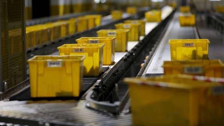 Products are moved on a conveyor system at an Amazon Fulfilment Center