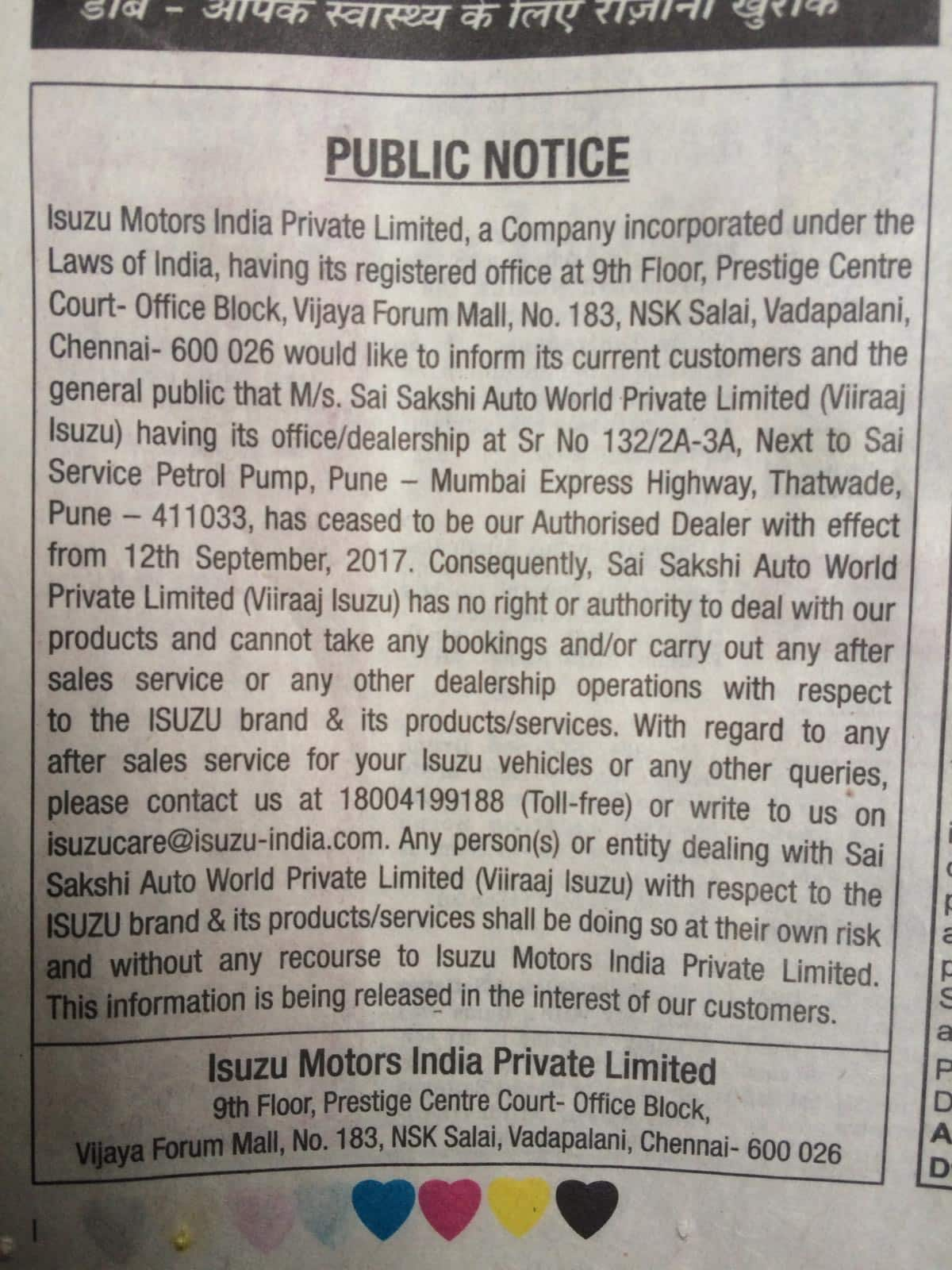 A picture of the public notice by Isuzu motors India published on September 16 in The Times of India (Pune Edition). Source: Shrivardhan Tapaswi/Moneycontrol