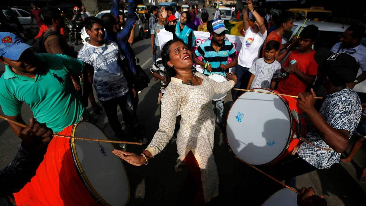 Supporters of the lesbian, gay, bisexual and transgender (LGBT) community celebrate after the Supreme Court's verdict of decriminalizing gay sex and revocation of the Section 377 law, during a march in Mumbai, India. (Image: Reuters)
