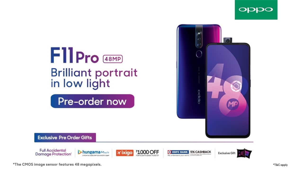 Oppo F11 Pro with 48MP rear camera, all-screen display, 'rising' 16MP selfie camera launched in India