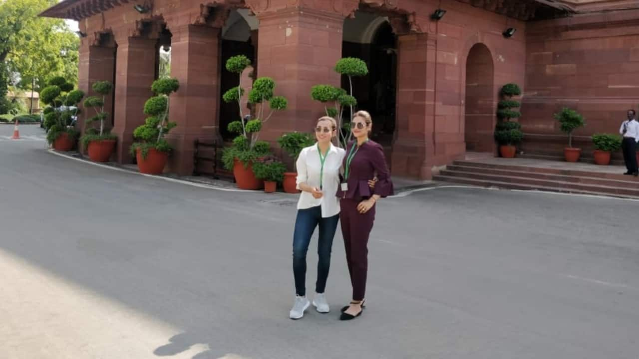 Actor-turned-MPs Mimi and Nusrat walk into parliament in style