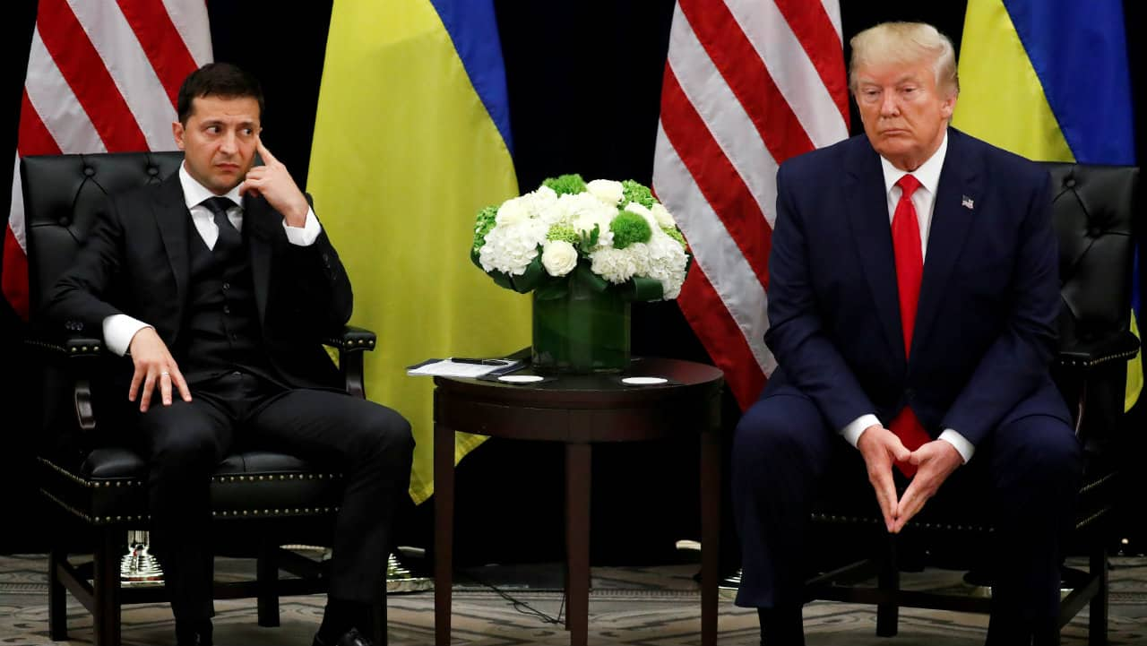 Ukrainian President Volodymyr Zelenskyy (left) and US President Donald Trump (right) during a bilateral meeting on the sidelines of the 74th session of the United Nations General Assembly (UNGA) in New York on September 25. (Image: Reuters)