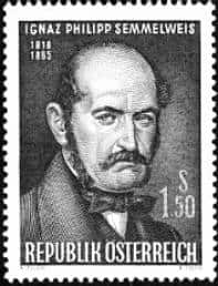 Postage stamp of Ignaz Philipp Semmelweis, 1818–1865. Issued in Austria in 1965 on the 100th anniversary of his death.