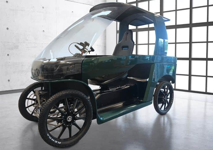 The Car-e-bike has enough space for two adults or one adult and two children. There is also cargo space for carrying luggage or groceries. It can also have the doors and windows set up to be either fully enclosed or semi-enclosed