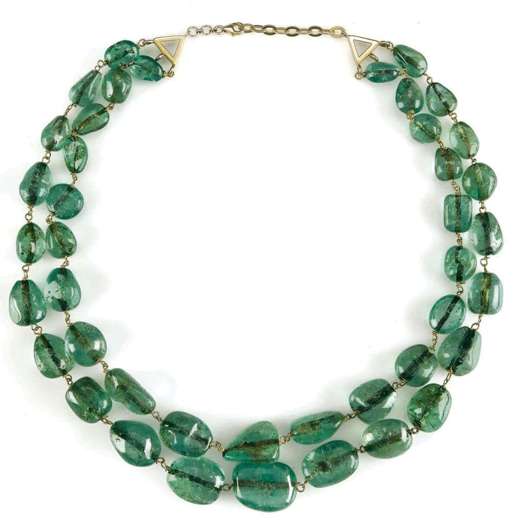 A two-strand emerald necklace.