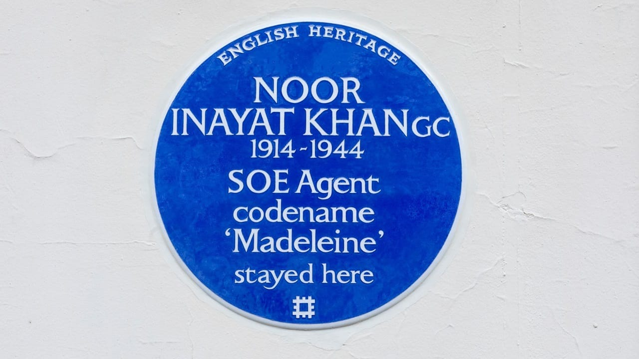 The 'blue plaque' to commemorate Noor Inayat Khan (Image courtesy: Handout from English Heritage)