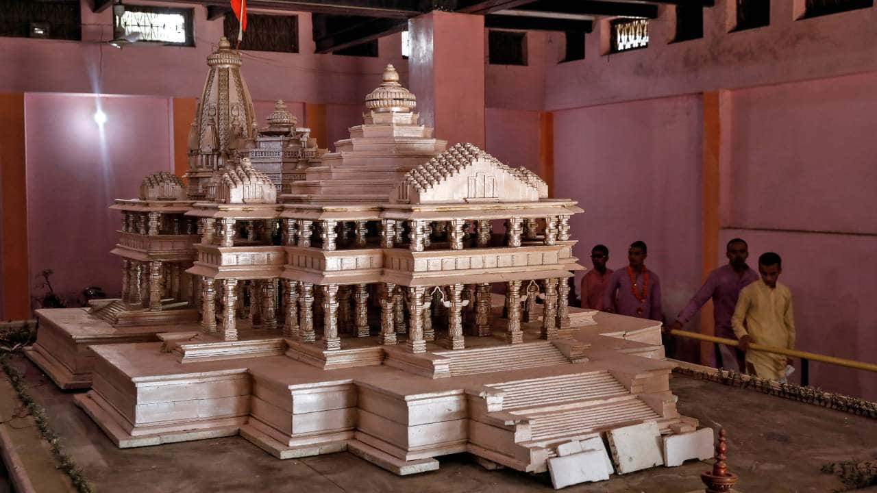 The design of Ram temple follows the 'Nagar' style of architecture, including 81.5 feet high Octagonal shikhar, five Mandaps, ground floor housing idol of Ram Lalla, first floor housing Ram Darbar and second floor to accommodate expansion of the structure. (File image: Reuters)