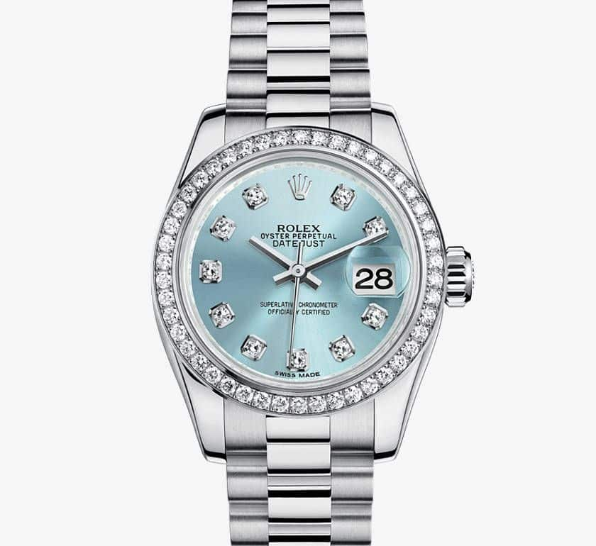 Rolex Lady Datejust made using platinum.