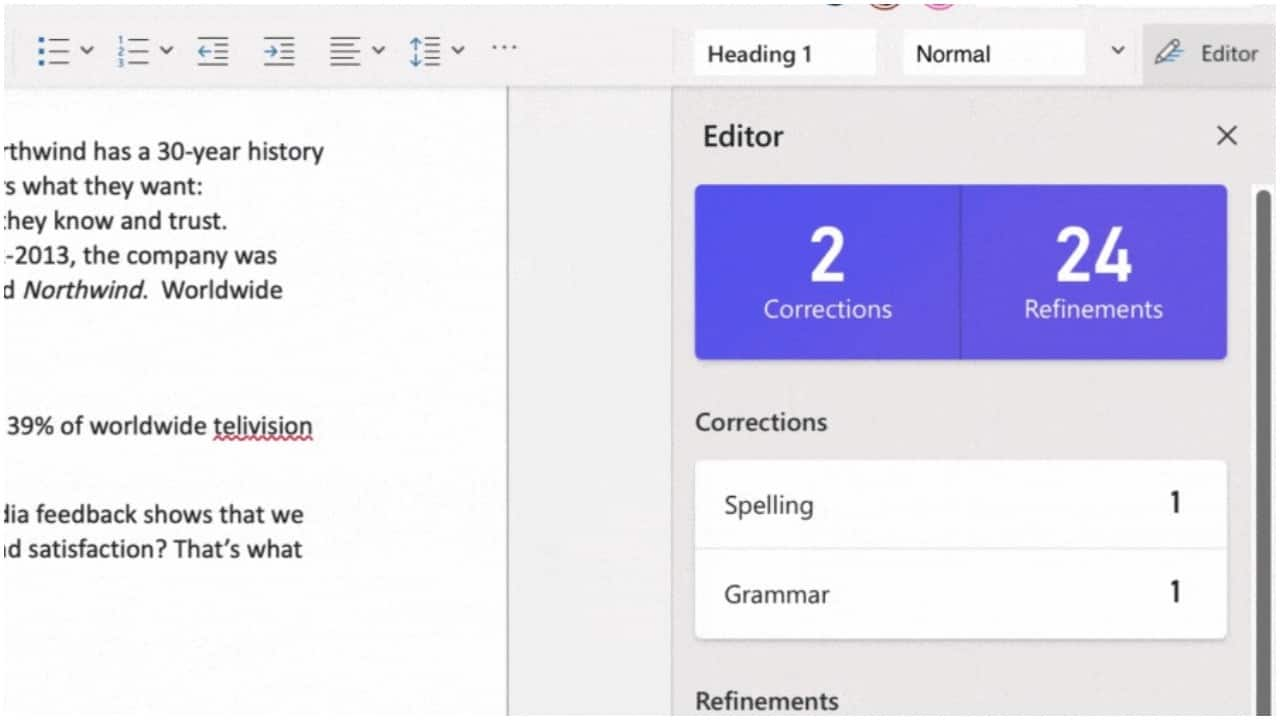 Editor in Word    Check your spelling and grammar while working on a document with Editor in Word. The Editor does not only check the spelling but can also check for over 65 grammar issues and refinements, including hyphenation, passive voice, Oxford comma. All the grammar and refinement options are available in the Word Options dialog box. To enable, you would needto choose to include grammar from the Word Options dialog box (File > Options > Proofing > Check grammar with spelling). (Image: Microsoft)