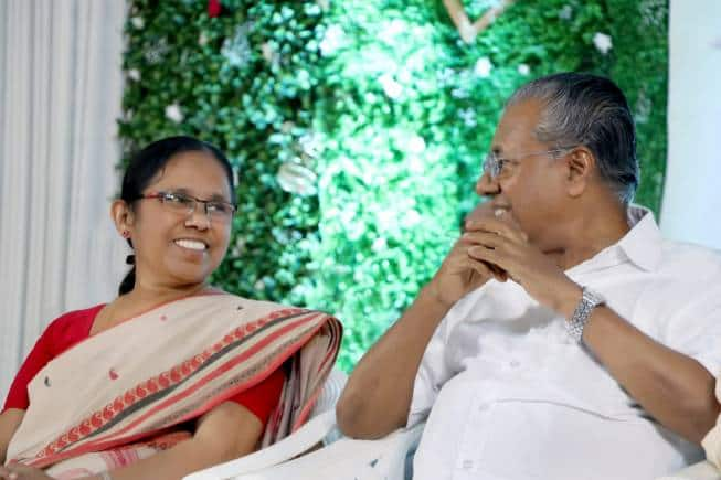 KK Shailaja with Pinarayi