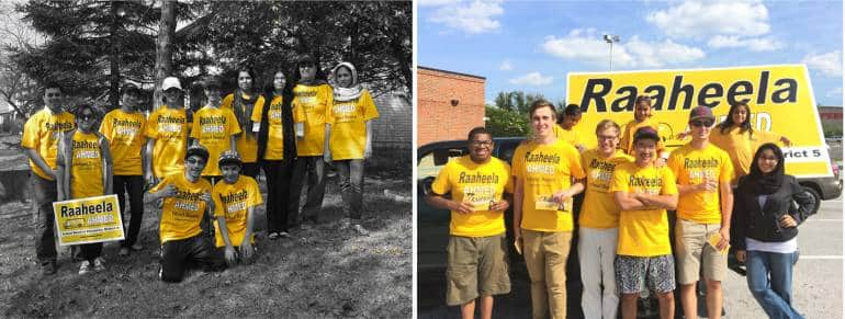"""In 2012, he passed the baton to Raaheela. """"He always told us, 'You can do it.' He spoke it into existence,"""" says Raaheela, who was 18 when she first ran for the county board of education and lost against a powerful incumbent, and 23 when she won in 2016."""