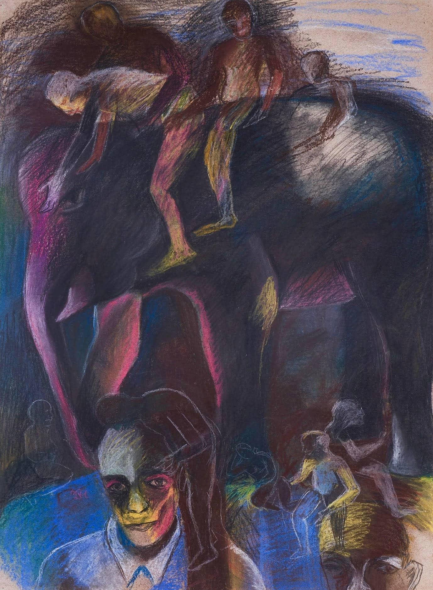 Men on Elephant, Bhupen Khakhar, oil and pastel on paper.