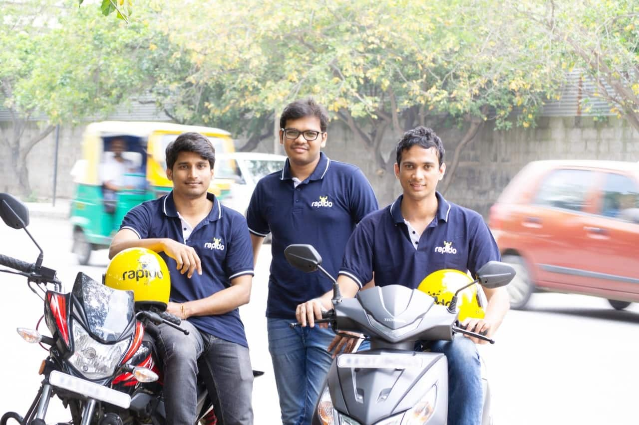 Rapido Founders (left to right): Pavan Guntupalli, Rishikesh SR, Aravind Sanka.