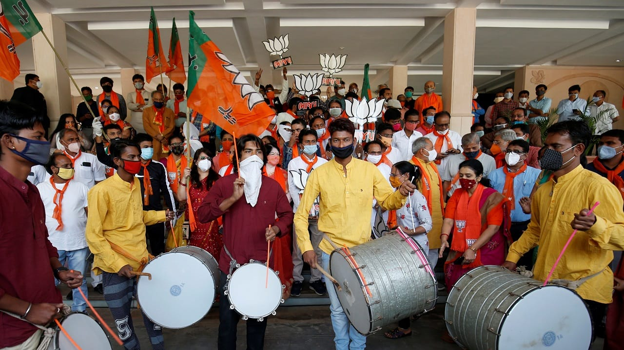 BJP workers celebrating the party's recent municipal poll win in Gujarat (Image: Reuters)