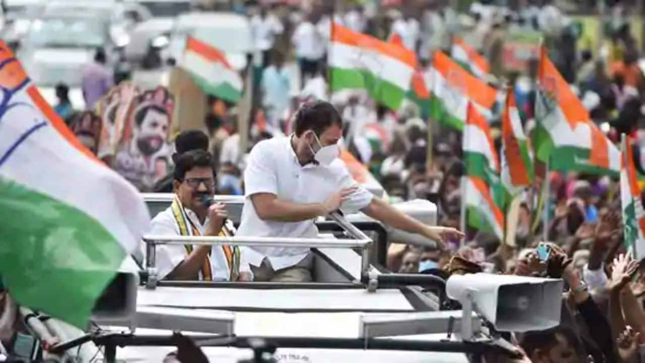 Senior Congress leader Rahul Gandhi greets party workers and the crowd at Coimbatore in poll-bound Tamil Nadu. (Image: PTI)