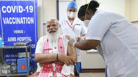 PM Narendra Modi takes his first COVID-19 vaccine dose at AIIMS Delhi