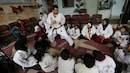 A karate instructor, displaced by war trains kids in Syrian town
