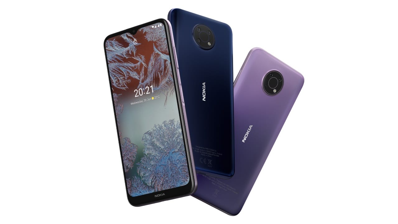 Nokia G10 specifications include a 6.5-inch HD+ display with a waterdrop notch, a MediaTek Helio G25 SoC with up to 4GB RAM and 64GB internal storage. The phone has a triple camera setup with a 13MP primary lens, a 2MP macro camera, and a 2MP depth sensor. It also gets an 8MP front camera. The G10 runs on Android 11 out of the box and will get two years of software support.