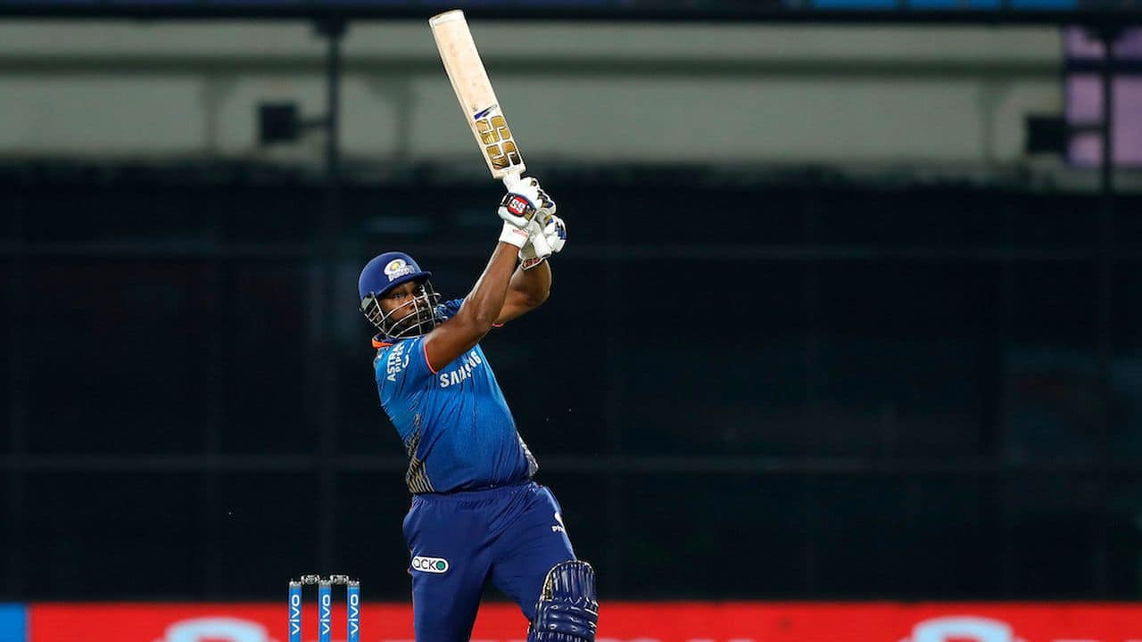 The match was going away from Mumbai Indians when Kieron Pollard started hitting the ball to sixes and took Mumbai Indians to a win in last ball of the innings. (Image: IPL/BCCI/Twitter)