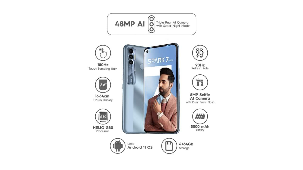 Tecno Spark 7 Pro की 9,999 रुपये की कीमत के लिए एक बेजोड़ स्पेक शीट है।  फोन MediaTek G80 SoC, 90Hz IPS पैनल, 48 MP ट्रिपल-कैमरा सेटअप, 5,000 एमएएच बैटरी और 6GB रैम के साथ आता है।  Amazon 6GB/64GB मॉडल को 10,999 रुपये में SBI क्रेडिट कार्ड पर 10 प्रतिशत की छूट के साथ 1,500 रुपये तक की पेशकश कर रहा है।