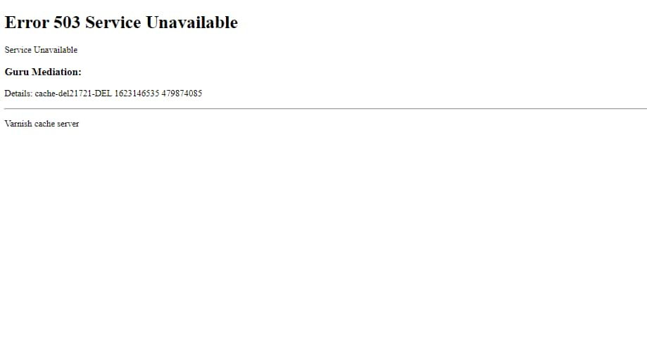 Screenshot of the error message as seen on one of the global news website's home page