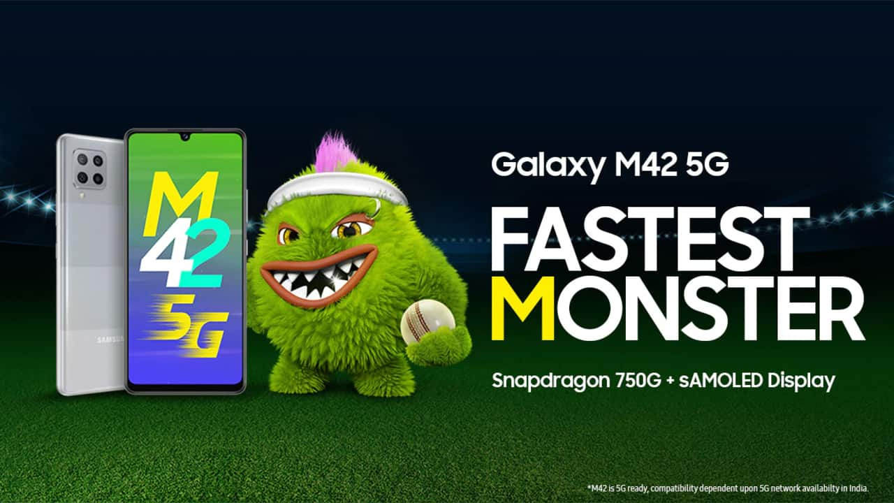 Samsung Galaxy M42 5G   The Galaxy M42 5G is the most affordable Samsung 5G phone in India. The M42 5G features a Snapdragon 750G SoC, a 48 MP quad-camera setup, an HD+ Super AMOLED display, and a 5,000 mAh battery. The M42 5G may be lacking in hardware but benefits from One UI, Samsung's custom skin.