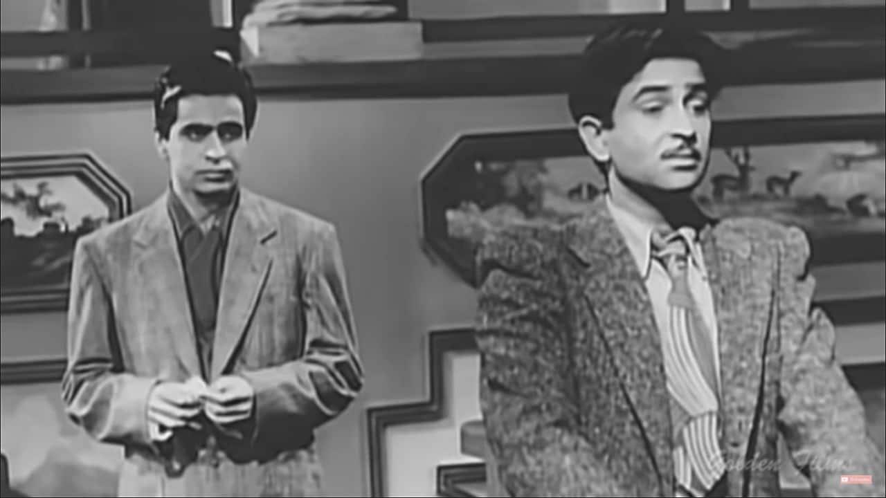 Dilip Kumar and Raj Kapoor in 'Andaz' (screen grab).