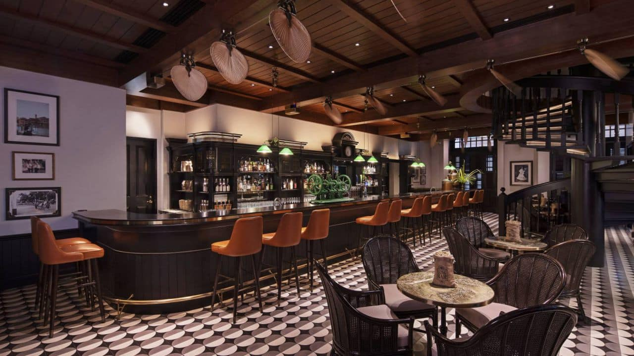 Long Bar at Raffles Singapore. Raffles Hotels debuted in Singapore in the early 1830s, and now have 15 iterations across the globe.