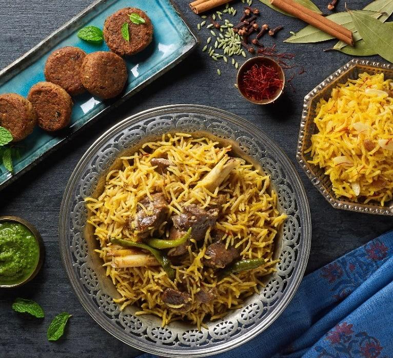 Maas ka Zarda Pulav & shikampuri kebabs from Charoli.