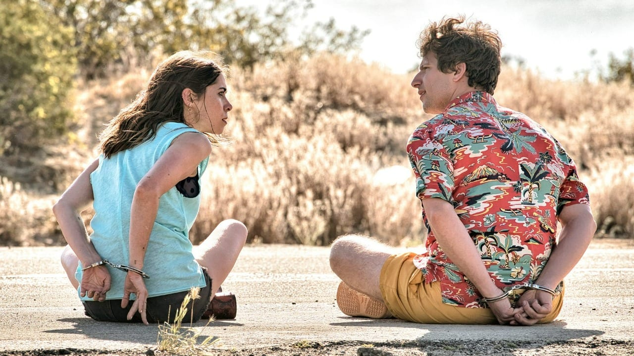 Sarah (Cristin Milioti) and Nyles (Andy Samberg) are stuck in an endless time loop in Palm Springs, waking up on November 9 over and over again.